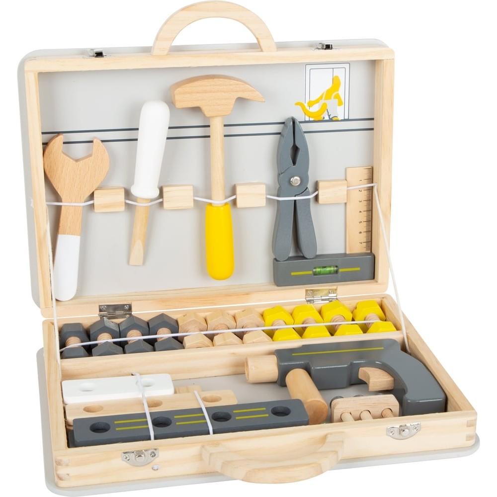 Boîte à outils en bois tendance scandinave pour enfant couleurs gris-jaune