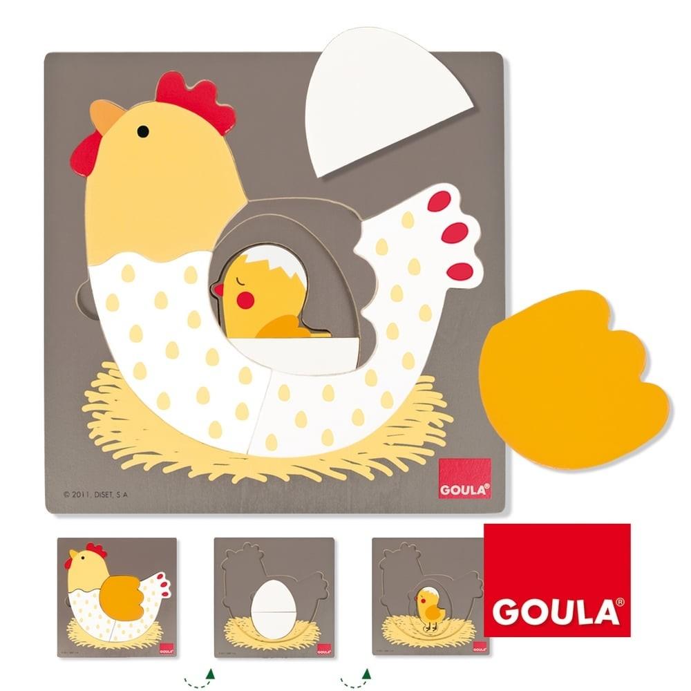 Puzzle en bois 7 pièces - De la poule au poussin