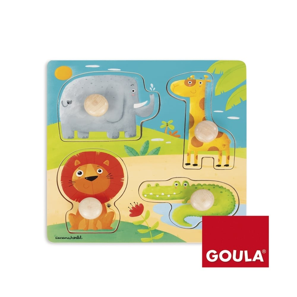 Puzzle en bois 4 pièces - Animaux d'Afrique