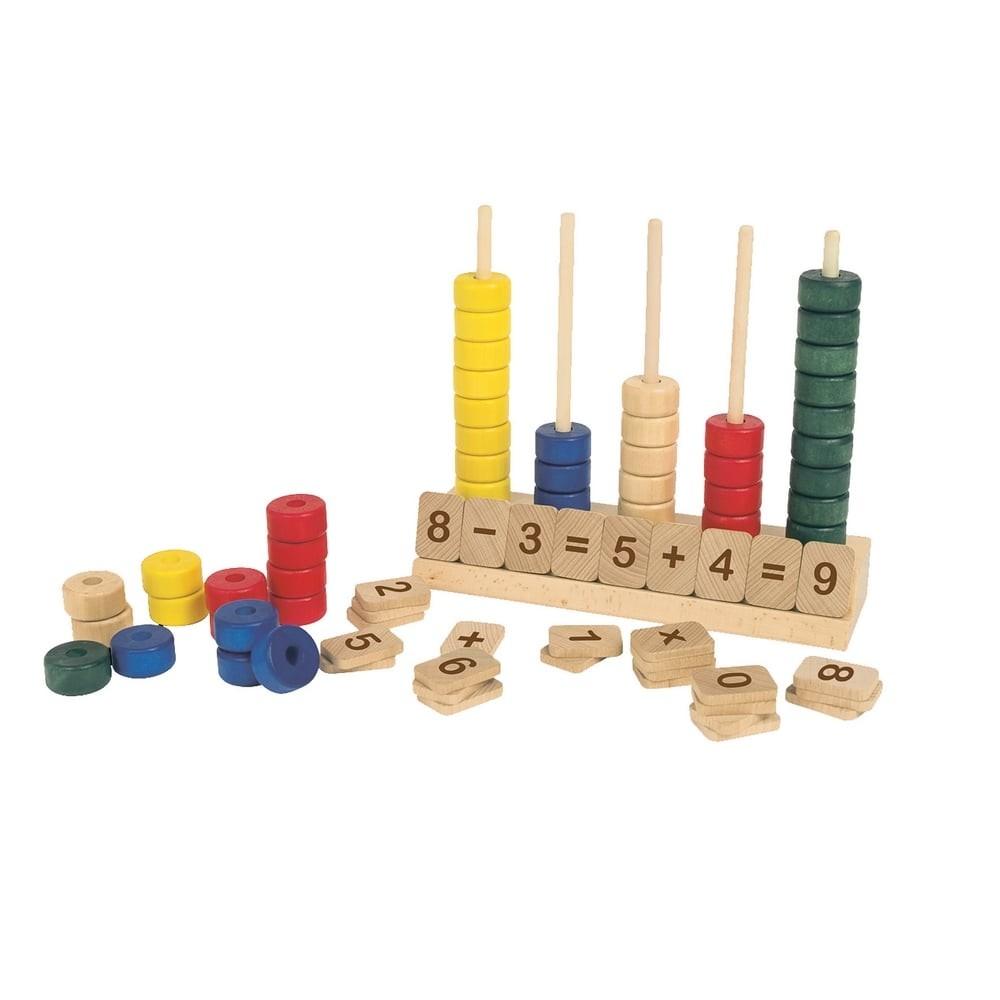 Outil de numération et de calcul en bois - Abaque
