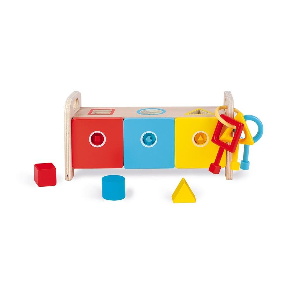 Jouet à encastrer - La boîte à clefs en bois - Essentiel