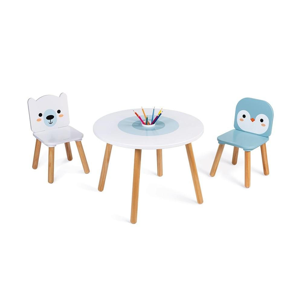 Table et 2 chaises en bois - Banquise